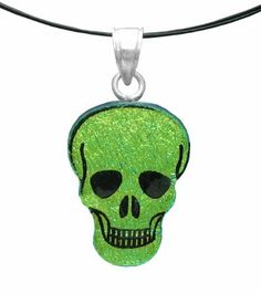 """Sterling Silver Dichroic Glass Yellow Skull Pendant Necklace on Stainless Steel Wire, 18"""" Amazon Curated Collection. $12.00. Made in Mexico"""