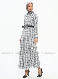 944078f2ab7 Tavin Gray Ecru Checkered Point Collar Unlined Cotton Dresses  elbise   modelleri  hijabfashion