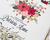 Hand Painted Pink Floral Wedding Invitation with Hand Written Calligraphy – Perfect for a Whimsical Wedding Theme