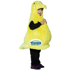 Our marshmallow Peeps outfit for toddlers is a cute candy costume idea. This unique chicken costume is great as a Halloween costume idea or even a Easter costume idea. - One yellow plush chick shaped