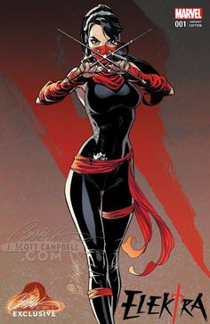Elektra #1 variant cover by J. Scott Campbell *