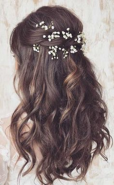 43 Gorgeous Half Up Half Down Hairstyles wedding theme creates a romantic , organic, earthy , and warm atmosphere! You really need a hairstyle that look more nature so hair down is. SEE DETAILS. Half Up Wedding Hair, Wedding Hairstyles Half Up Half Down, Curly Wedding Hair, Long Hair Wedding Styles, Elegant Wedding Hair, Wedding Hair And Makeup, Bridal Half Up Half Down, Romantic Bridal Hair, Romantic Curls