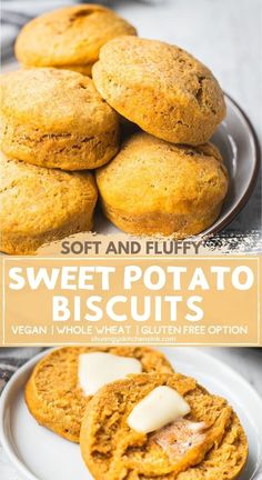 Sweet Potato Biscuits | Fluffy, soft, and buttery vegan biscuits made with whole wheat flour, sweet potato puree and dairy-free ingredients. You'll never believe how easy these sweet potato biscuits are to make! The perfect whole wheat breakfast biscuit or addition to any home-cooked meal. Serve these gluten free biscuits with plant based butter, nut butter or your favorite jam, for the whole family to enjoy. | #sweetpotatobiscuits #biscuitrecipe #glutenfreebiscuits #veganrecipe… Vegan Recipes Easy Healthy, Healthy Breakfast Recipes, Dairy Free Recipes, Real Food Recipes, Baking Recipes, Healthy Sides, Vegetarian Recipes, Sweet Potato Buns, Sweet Potato Biscuits