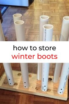 Check out this PVC boot storage idea for your entryway, mudroom or garage. Perfect for small entryway or closet. this keeps your boots shape and dirt off the floor. #hometalk