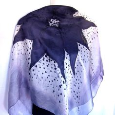 """Hand Painted Silk Scarf, Floral, Black White Gray, 35"""" Square Silk Scarf, Gift For Her"""