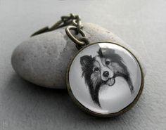 Sheltie Key Ring Pet Drawing Pet Gift Sheltie Keychain by jsPetART