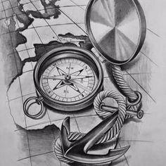 Tattoos Discover All those who wander are not all lost! Clock Tattoo Design, Compass Tattoo Design, Sketch Tattoo Design, Tattoo Sketches, Tattoo Drawings, Tattoo Designs, Map Tattoos, Anchor Tattoos, Time Tattoos