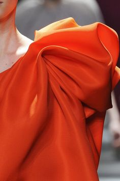 Tangerine Evening Dress with deconstructed fan pleats on one shoulder