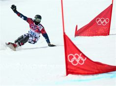 Andrey Sobolev of Russia competes in the Snowboard Men's Parallel Giant Slalom Qualification