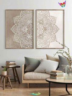 Boho Wall Decor Living Room Set of 2 Mandala Wall Art Beige   Etsy  <br> Panel Wall Art, Wall Art Sets, Large Wall Art, Canvas Wall Art, Mirror Wall Art, Diy Canvas, Indian Living Rooms, Boho Living Room, Living Room Colors