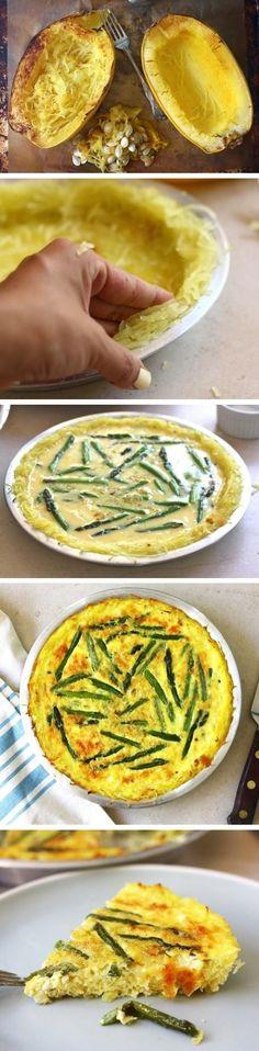 Asparagus Quiche with a Spaghetti Squash Crust.