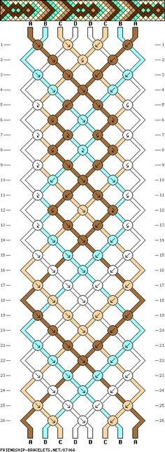 #87066 8 Strands, 4 Colors, 2 ea - friendship-bracelets.net - Made 9/15 w/ A= burgundy, B= dk blue, C= gold, D= white/cream;