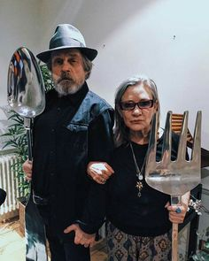 So Carrie Fisher possesses #TheFork but I managed to wrestle that #SilverSpoon from her pampered mouth! #PrinceLuke Star Wars Mark Hamill Luke Skywalker and Princess Leia