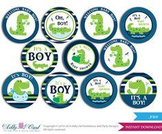 Boy Crocodile Alligator Cupcake Toppers by adlyowlpartyprints