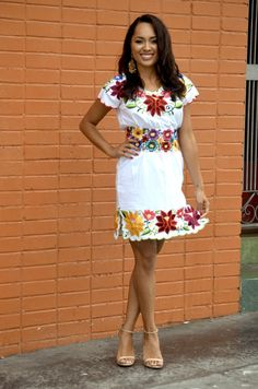Sexy Gorgeous Mexican Embroidered Mini Dress Huipil Tunic