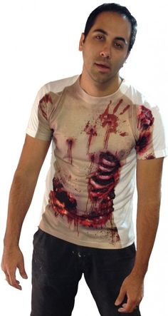 Zombie Torso Full Body Print Shirt Zombie Torso Full Body Print Shirt [Nail it!] Are you ready for the Zombie Apocalypse? Blend in with the walkers in this new, full body print sublimated shirt! This zombie shirt features bloody handprints, scar tissue and exposed bones on both sides, making it look like you just lived through World War Z. #Zombie #cosplay #zombiekiller #funnytshirt