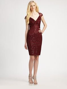 David Meister - Sequin Lace Cap Sleeve Cocktail Dress - Saks.com