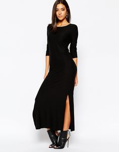 Image 4 ofSisley Maxi Dress in Black with Side Split