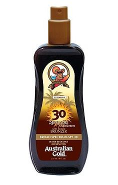 Australian Gold Spray Gel with Instant Bronzer SPF 30: Every purchase through this link supports organizations that seek to fight against skin cancer.