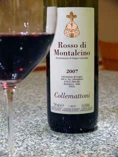 Collemattoni  Rosso di Montalcino  2007  14.5% ABV | Price: about $28    This wine is 100% sangiovese, from the Brunello clone. Rosso di Montalcino is made in a lighter style than a classified Brunello, and can be released younger.    Approachable and fresh, it offers pepper and plum aromas, plus the scent of saddle leather and strong black tea. Juicy and bright on the palate, it yields red fruits and lively acidity, but has an earthy undercurrent and slightly drying finish.