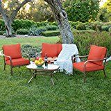 ICYMI: Best Choice Products Cushioned Patio Furniture Conversation Set w/Loveseat, 2 Chairs, Coffee Table – Red Metal Patio Furniture, Patio Furniture Covers, Outdoor Furniture Sets, Outdoor Decor, Metal Sofa, Cool Chairs, Patio Chairs, Tempered Glass Table Top, Glass Top Coffee Table