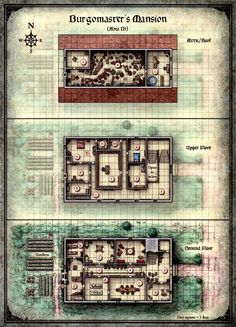 Curse of Strahd - Map of the Burgomaster's Mansion                                                                                                                                                                                 More