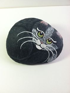 Tuxedo Pet Stone PAINTED CAT Black White Tuxedo Cat by SallyStones