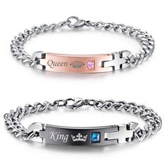 NEHZUS Jewelry Stainless Steel Her King His Queen Couple Bracelet Matching Set Valentine Gift
