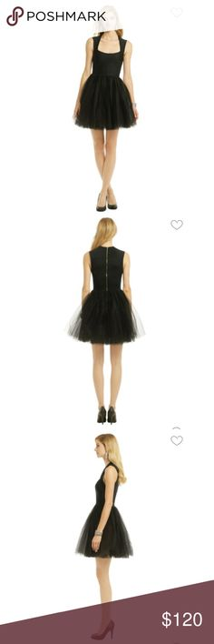 Allison Parris black tutu dress Allison Parris 'Dance Floor Diva' black tutu party dress. Size 4 but runs a bit big and is pretty low cut. I rented the dress from Rent the Runway (hence the barcode on the tag) and loved it so much I bought it. No stains or tears. Double layer of tulle that is a bit scrunched up and needs to be steamed. Allison Parris Dresses Prom
