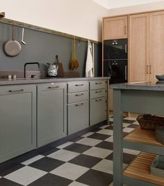 Cool Classic kitchen from Kvanum in the colour Forest Green painted on ash Grey Kitchen Floor, Gray And White Kitchen, Grey Kitchen Cabinets, Kitchen Flooring, Apartment Kitchen, Kitchen Interior, Kitchen Decor, Grey Kitchens, Home Kitchens