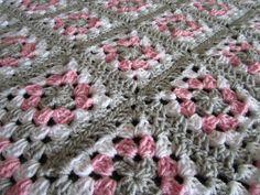 Pink Gray Baby Granny Square Blanket, Crochet Pink and Gray Blanket, Pink Gray Nursery, Crochet Baby Blanket, READY TO SHIP by DonnasPinsandNeedles on Etsy