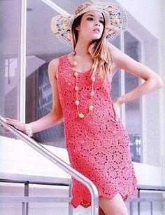 Fuschia Hexagon Dress free crochet graph pattern