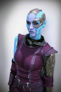 Nebula from Guardians of the Galaxy cosplay. Crappy movie, but awesome cosplay Cosplay Marvel, Epic Cosplay, Amazing Cosplay, Cosplay Girls, Superhero Cosplay, O Maskara, Nebula Cosplay, Halloween Cosplay, Halloween Costumes