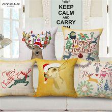 XYZLS Natal Rena Dos Desenhos Animados Padrão Capa de Almofada Fronha Praça Sofá Almofadas Decorativas Cojines Almofadas de Natal(China)