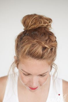 Hair Romance - Everyday curly hairstyles - Curly Braided Top Knot Hairstyle Tutorial