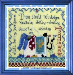 Procastination is the title of this cross stitch pattern from Tempting Tangles.