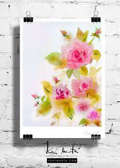 Watercolor Flowers : Roses