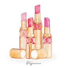 Couture Printery Illustration YSL Lipstick. Shop at www.coutureprintery.com