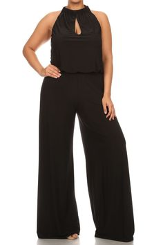68.00 - The jumpsuit has never been so chic as in this Plus size solid sleeveless relaxed fit wide leg jumpsuit, , ebuybit.com