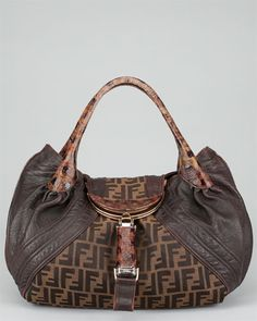 FENDI Monogram Brown Leather & Zucca Print Spy Bag. I have had one of these for more than 10 years and it's still one of my favorite bags!