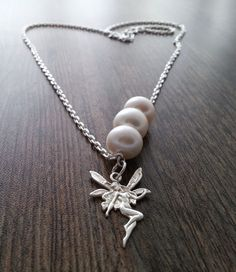 ba0427d2fdb5 Chain necklace in sterling silver with three freshwater pearls and sterling  silver fairy. Perlas Cultivadas De Agua DulcePerlas De AguaCollares ...