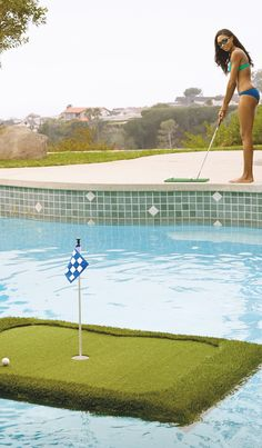 Practice lofting the perfect pitch over a water hazard with our Floating Golf Green.