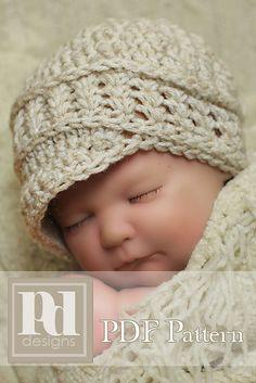 Newborn Newsboy with Shells & Braids Band - Photo Prop by Pamela Dempsey $6