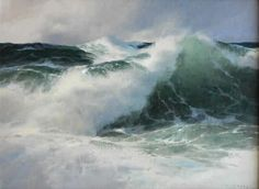 Donald Demers, At the Break, oil on canvas panel, 12 x 16 inches SOLD Seascape Paintings, Landscape Paintings, Acrylic Painting Inspiration, Underwater Painting, Ocean Pictures, Stormy Sea, Sea Waves, Ocean Art, Beach Art