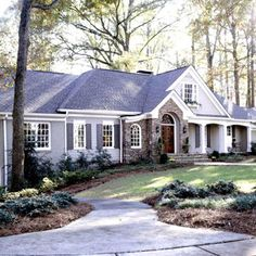 Natural Ranch Style Home        A mix of natural materials--fieldstone, cedar shingles, and wood siding--ensures this updated ranch-style home blends comfortably with its wooded surroundings. Stacked fieldstone defines the entry, creating an arch around the custom-made door.