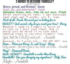 Sea Weed and Brain! Good one Annabeth! Notice how Annabeth and Piper didn't answer? :)