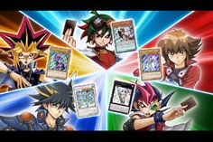 Each Yu-Gi-Oh! Protagonist and their ace monsters. Yugi (Dark Magician) Jaden (Elemental Hero Neos) Yusei (Stardust Dragon) Yuma (Number 39: Utopia) Yuya (Odd-Eyes Pendulum Dragon)