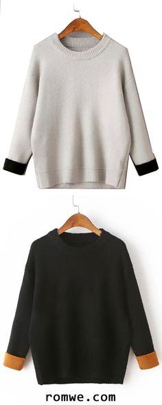 Drop Shoulder Contrast Cuff Sweater