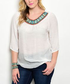This White Beaded-Yoke Scoop Neck Top - Plus is perfect! #zulilyfinds
