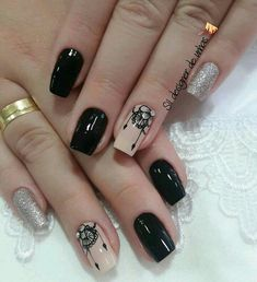 Uñas Really Cute Nails, Pretty Nails, Gold Nails, Black Nails, Hair And Nails, My Nails, Luxury Nails, Beautiful Nail Designs, Stylish Nails